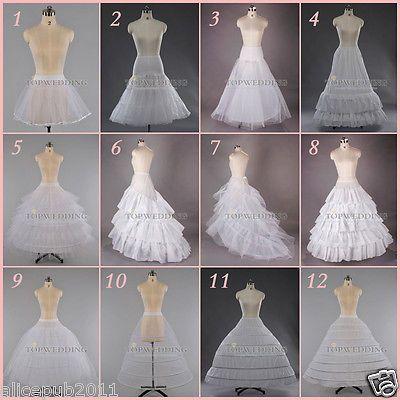 Blanco una línea Aro / hoopless Bridal Petticoat Vestido De Novia crinolina ENAGUA