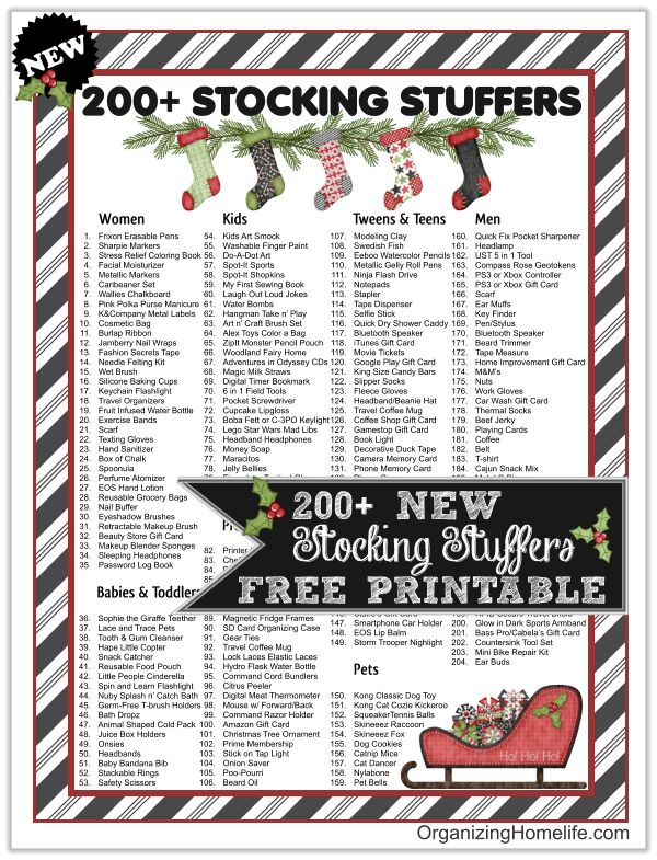 2015 list of practical, useful, and FUN stocking stuffer ideas for men, women, teens, boys, girls, & pets. Free printable stocking stuffer ideas.