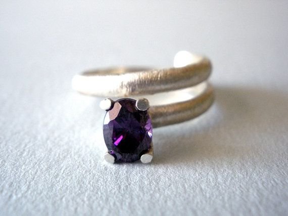FREE SHIPPING Amethyst Purple Zircon Silver Ring Cubic