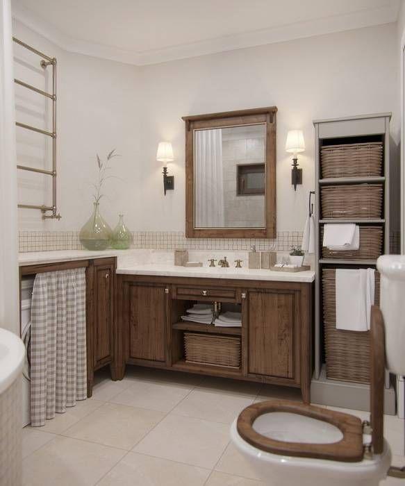 Дизайн интерьера дома в п.Зеленое: Ванные комнаты в Рустикальный. Автор - MJMarchdesign