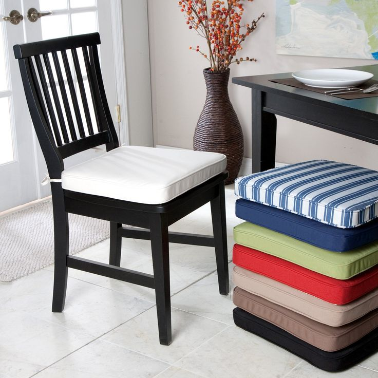 Deauville 18 x 16.5 Dining Chair Cushion | www.hayneedle.com- 4 of them in cream/white -- Arrival = 1/16 - 1/20
