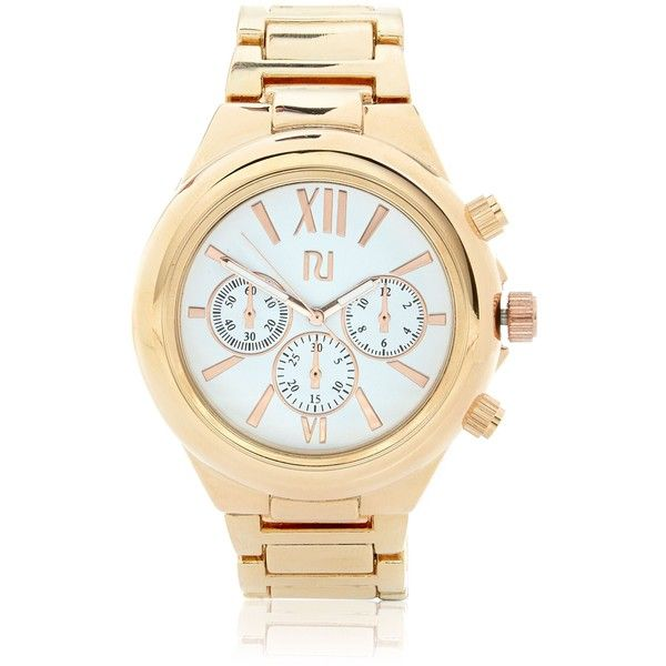 River Island Rose gold tone oversized watch (81 CAD) ❤ liked on Polyvore featuring jewelry, watches, chain watches, rose gold tone watches, rose gold tone jewelry, oversized watches and chains jewelry