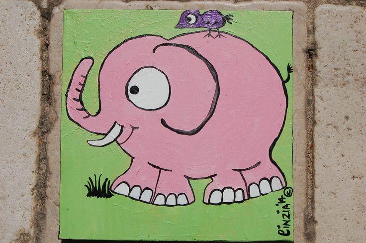 Elephant & friend - acrylic on canvas (2014)