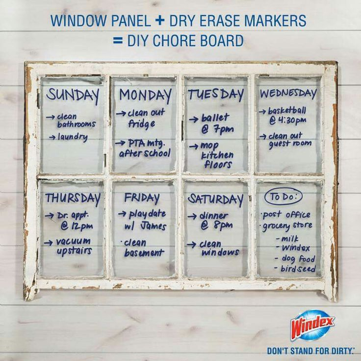 Clear glass window pane + dry erase markers = diy chore board (Windex)