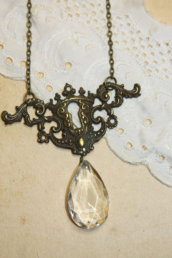 Vintage Keyhole Necklace with Chandelier Crystal by jeanettejanson, $35.00