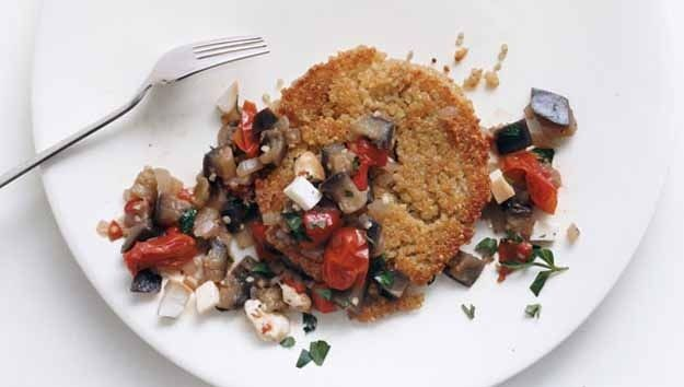 Quinoa Cakes with Eggplant-Tomato Ragu  Quinoa Cakes     1 1/2 cups water     1 cup quinoa     2 egg white beaten  Topping      1 1/2 lb eggplant, cut into 1/2-inch cubes     1 small onion,     2 tsp finely chop garlic     1/2 tsp dried oregano     1 cup grape or cherry tomatoes, halved     1/2 cup drained bottled roasted red peppers,     3/4 cup water     1 tbsp flat-leaf parsley     1/4 lb smoked mozzarella, diced (1 cup)