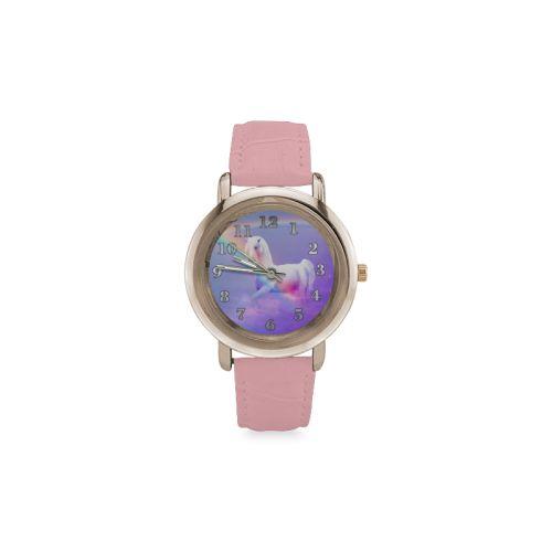 Unicorn and Rainbow Women's Rose Gold Leather Strap Watch. FREE Shipping. #artsadd #watches #unicorn