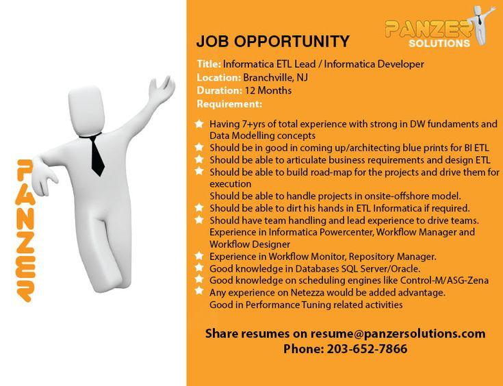 Informatica Etl Lead Informatica Developer In 2020 Job Opportunities Job Opening Development