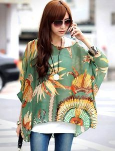 Stylish-Women-Lady-Girls-Bohemian-Summer-Loose-Batwing-Chiffon-Blouse-Tops-Shirt