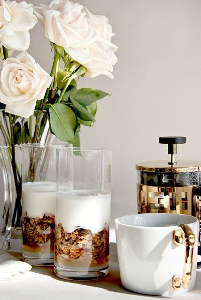 Romantic Breakfast #yogurt #coffee #white #gold #camillestyles: Breakfast In Beds, Fun Recipes, Pumpkin Seeds Cranberries Chia, Mothers Day, White Rose, Pumpkin Granola, Seedcranberrychia Granola, Seeds Cranberries Chia Granola, Pumpkin Seedcranberrychia
