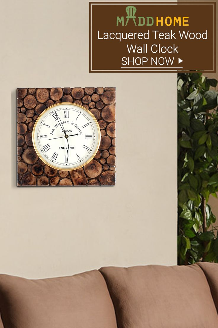 Lacquered Teak Wood Wall Clock.