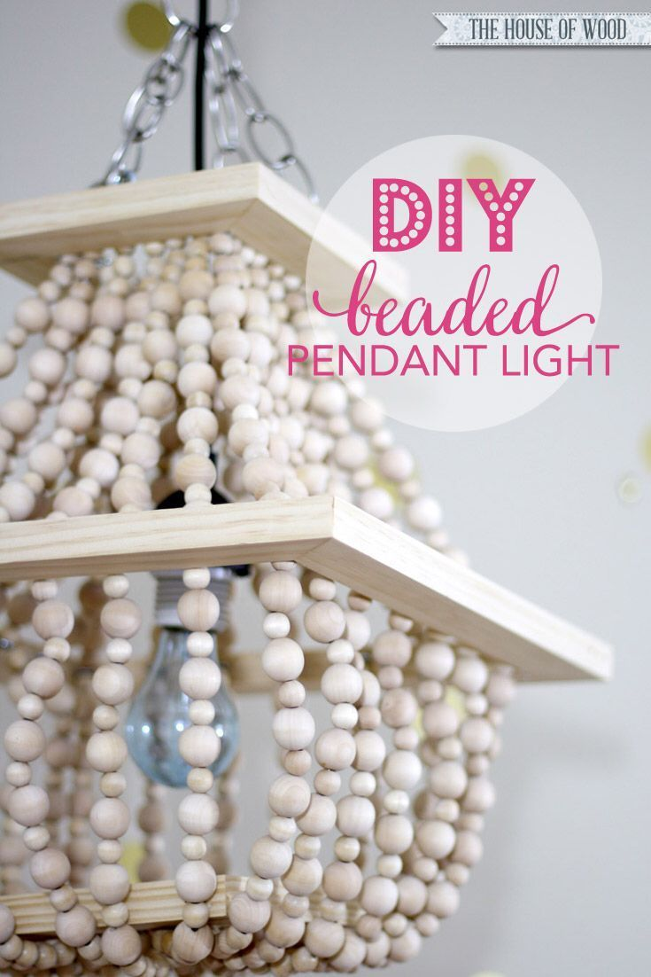 LOVE this DIY beaded light fixture! Step-by-step tutorial at The House of Wood | www.jenwoodhouse.com/blog