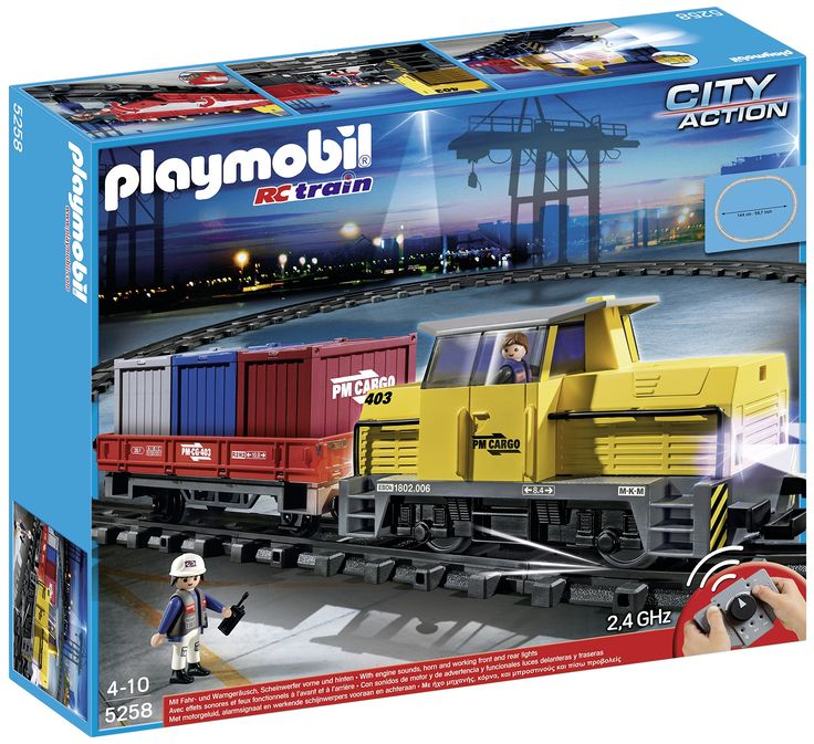 Playmobil Train Porte-Conteneurs Radio-Commandé + petit circuit (ref : 5258)