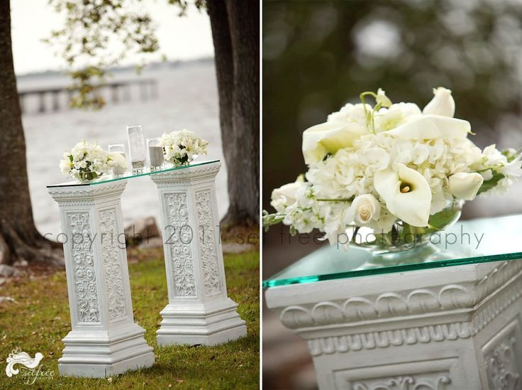 Sand Ceremony Glass Table White Flowers Unity White Pillars