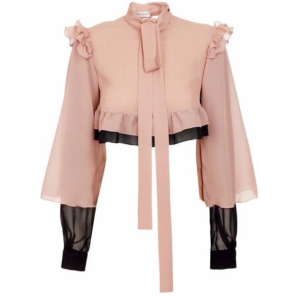 JIRI KALFAR - Silk Blouse with Frills (4.173.310 IDR) ❤ liked on Polyvore featuring tops, blouses, shirts, ruffle sleeve blouse, bohemian shirts, layered blouse, ruffle sleeve top and silk ruffle blouse