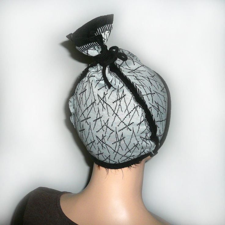 Fancy light blue cap, beanie, hat, fall winter fashion, cotton, black fleece lining. $33.00, via Etsy.