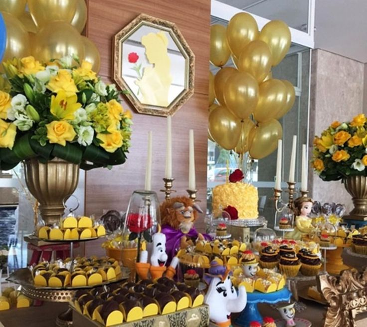 Decoração de Festa tema A Bela e a Fera...The Beauty and the Beast Ideas Birthday Party