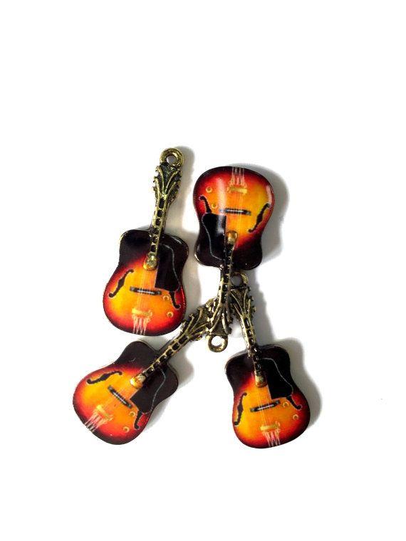 Rockabilly Guitar Enamel Charms 4pcs by KajaSupplies on Etsy
