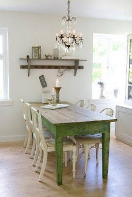 I have a table very similar to this one....maybe I will paint it this color :)   Green Shabby Table