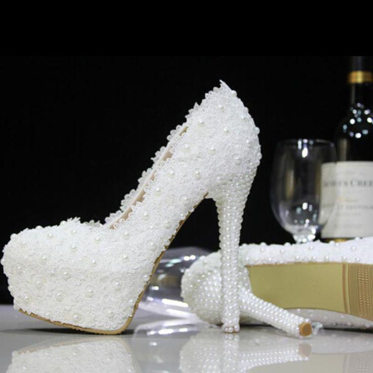 Лето Весна Перл Кружева Кожаные Женские Свадебные Туфли 2016 Новые Красивые Женщины На Высоких Каблуках Удобные 6 Каблуки Насосы Женская Обувь