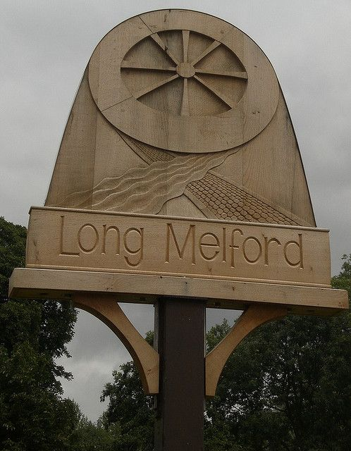 Long Melford, Suffolk is named for its layout--it was originally concentrated along a 3-mile stretch of road--and its location near the Mill Ford of Chad Brook.