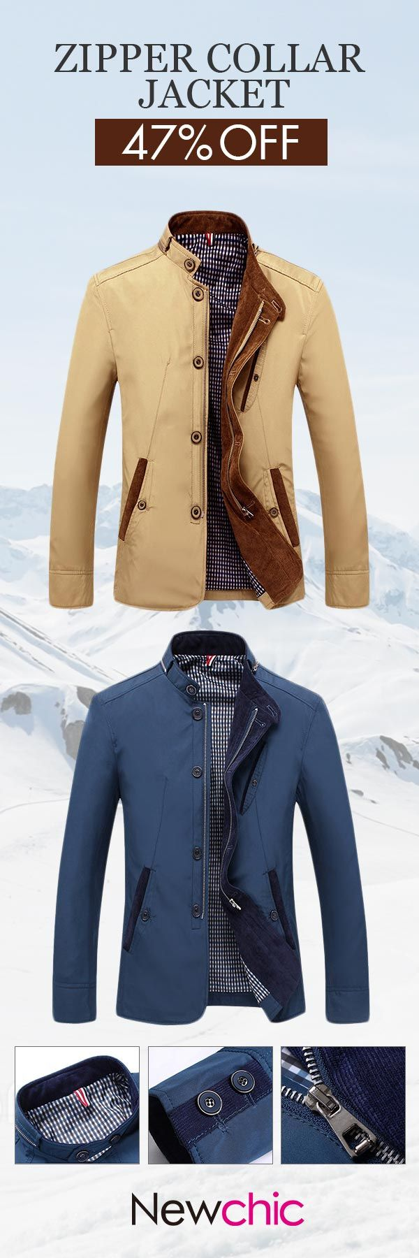 US$35.04(47%OFF)Casual Business Personality Stand Collar With Zipper Slim Fit Jacket For Men