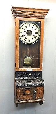Antique-ITR-International-Time-Recorder-Q-Sawn-Oak-Wall-Clock-AS-IS-not-running