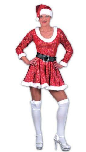 Glitter kerst jurk met riem en muts. Rood kerstvrouw kostuum, inclusief jurk, riem en muts. Kerst kostuums bij Fun en Feest #kerstjurkjes