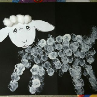 Lost Sheep Chapel craft - we used a clothespin to hold a cotton ball.  They dipped in white paint and filled in the outline we provided (using a white crayon).  Could also do black paint on white paper for Baa Baa Black Sheep.  :)