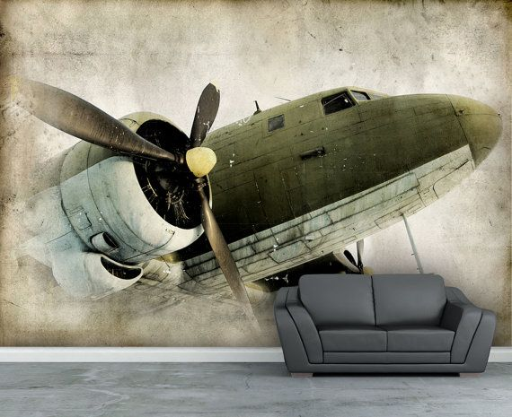 Wall mural, Retro propeller airplane wall paper, wall decal, Repositionable peel & stick wallpapers.