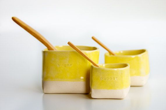 Ceramic Salt,  Pepper, and Sugar Cellars in Yellow (made to order). $45.00, via Etsy.