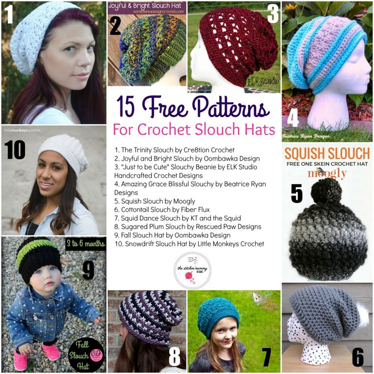 15 Free Patterns for Crochet Slouch Hats | crochet | Pinterest ...