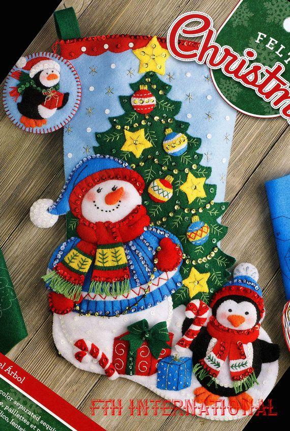 Bucilla Trimming The Tree  18 Felt Christmas Stocking