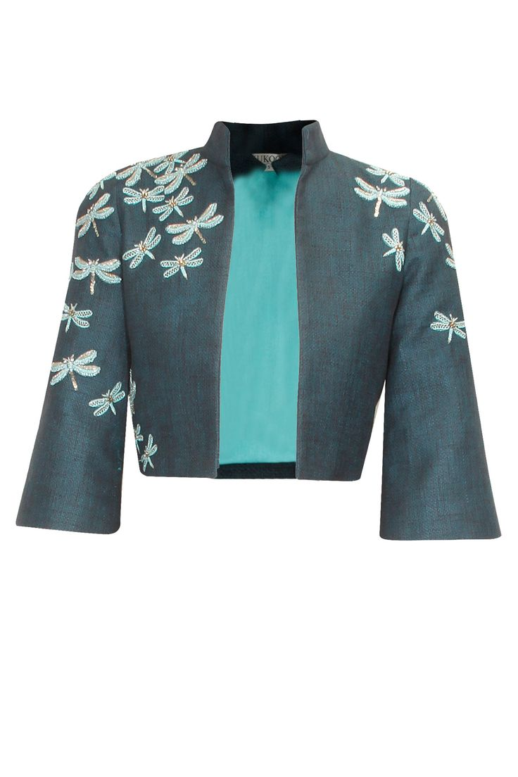 Dark teal dragonfly embellished tweed crop jacket available only at Pernia's Pop Up Shop..#printed#designer #fashion #HappyShopping #love #shopnow #festive #kukoon