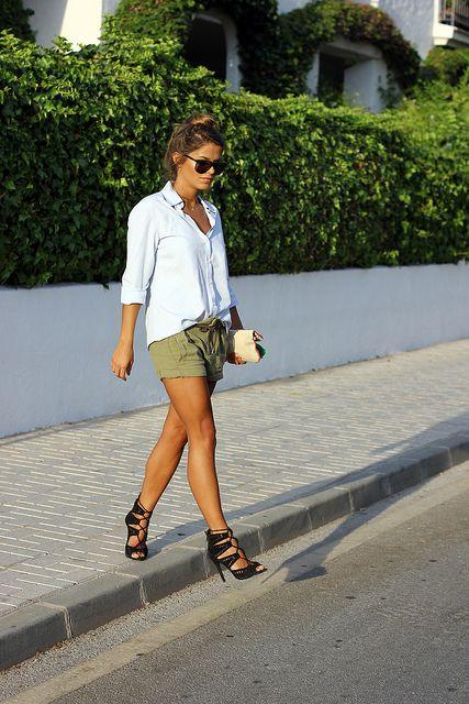 Zara shorts & sandals, Massimo Dutti shirt, Aldo clutch, Gucci sunglasses.