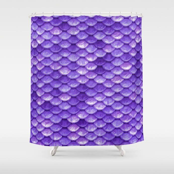 Purple Shower Curtain, Mermaid Shower Curtain, Ocean Bath Decor, Coastal Bathroom, Beach Decor, Mermaid Scales, Purple Bathroom, Bath Decor by OlaHolaHolaBaby on Etsy