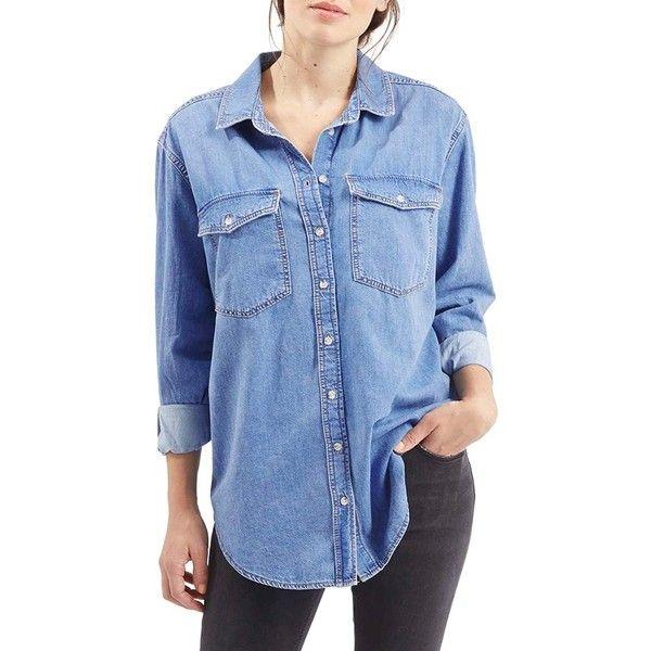 Topshop Moto 'Elton' Oversize Denim Shirt ($65) ❤ liked on Polyvore featuring tops, mid denim, blue top, shirts & tops, oversized denim shirt, oversized shirt and blue shirt
