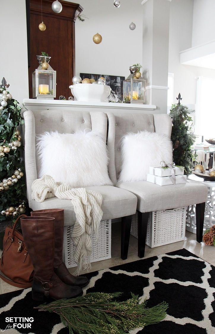 Välkommen till min Woodland Chic Christmas hem tour med Country Living Magazine!  Se min jul foajé och få massor av inredning idéer med hjälp av glam, skimmer, metallic och glans blandat med massor av naturliga element, skogsmark ikoner och neutrala!  www.settingforfour.com