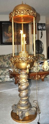 Large mid-century oil rain lamp with ornate pedestal