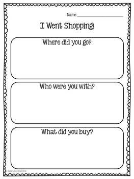 With this personal narrative writing lesson, students will write about a time when they went to a store to shop for something with a family member. Kindergarten and 1st graders will benefit from the differentiated publishing pages in this packet. Meets Common Core Standards!