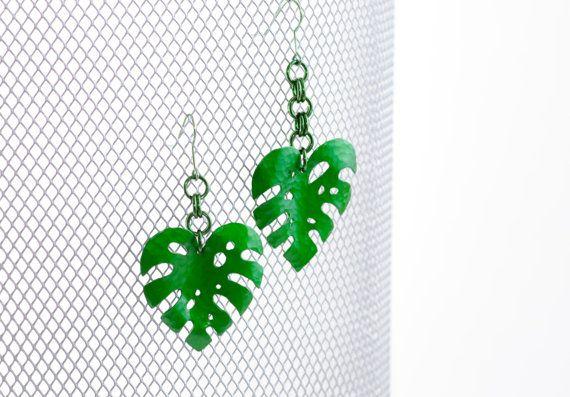 Split Leaf Philodendron Earrings by MetalMythStudios on Etsy