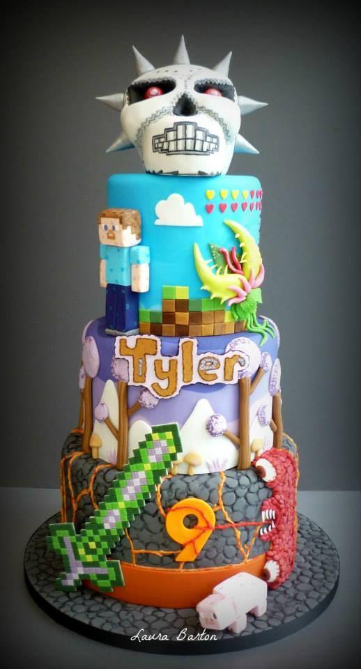 Minecraft Terraria Cake. Facebook Link https://www.facebook.com/media/set/?set=a.870277139656232.1073741839.213385518678734&type=1