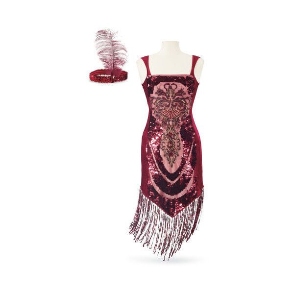 Ruby Flapper Dress Costume Ensemble ($80) ❤ liked on Polyvore featuring costumes, sequin costume, white costume, 1920s halloween costumes, flapper costume and gatsby costumes