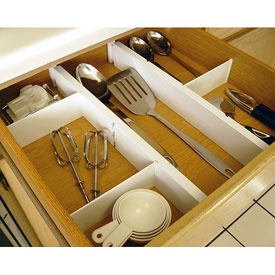 Expandable and adjustable drawer dividers kit.  *shivers*  Great for my wide kitchen drawers!  $18.99