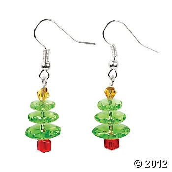 Christmas Tree Glass Earring Kit, Bead Kits, Beading, Craft & Hobby Supplies - Oriental Trading