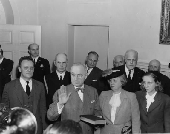 President Harry S. Truman takes the oath of office upon the death of President Franklin D. Roosevelt, April 12, 1945.