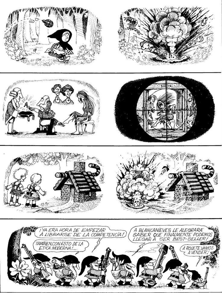 Quino, reinterpretaciones de diferentes cuentos: Caperucita roja, los 7 enanitos, Hansel y Gretel, la Cenicienta
