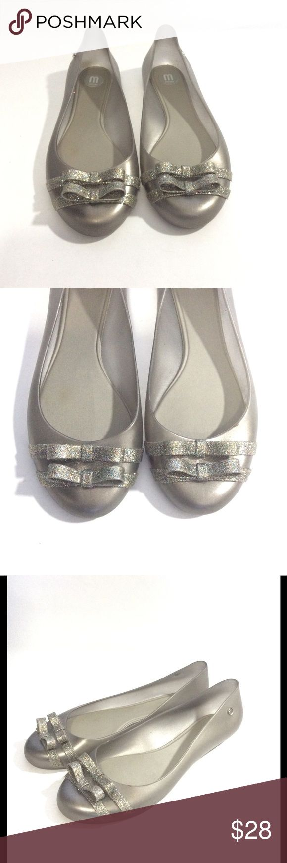 Melissa Silver Glitter Double Bow Jelly Flats 8 For sale is this super cute pair of Melissa double bow ballet flats! Perfect for fun everyday wear!   Women's Size 8 Eur 39  Great condition! Light scuffs. Melissa Shoes Flats & Loafers
