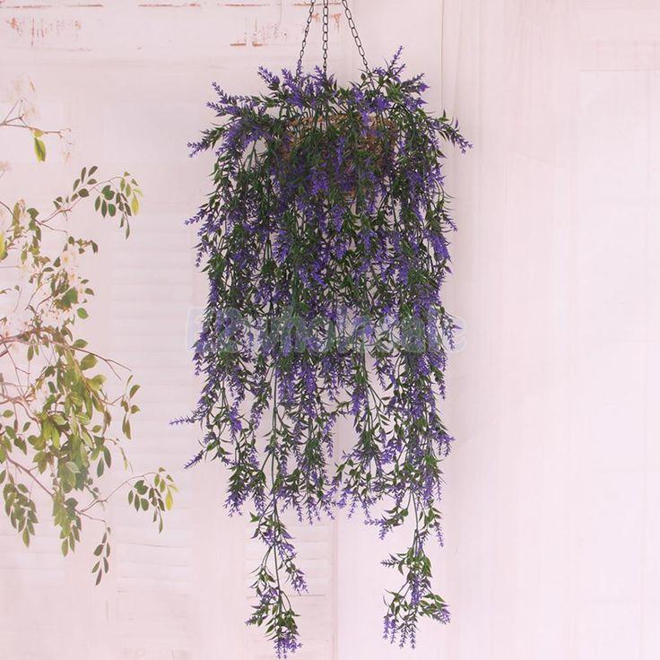 3.28Ft Fadeless Plastic Grass Plants Vine Outdoor Wedding Decor Violet Blue