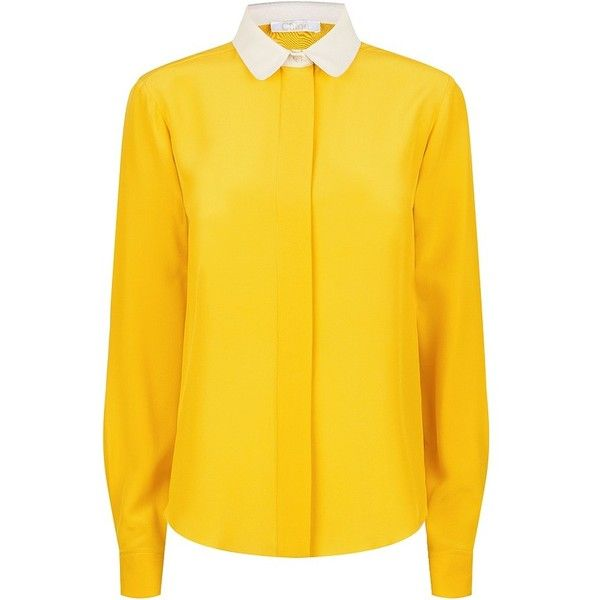 Chloé Iconic Crepe-de-Chine Shirt (39.850 RUB) ❤ liked on Polyvore featuring tops, blouses, shirts, rounded collar shirt, round collar shirt, yellow top, chloe shirt and yellow shirt